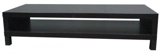 Table basse 149 cm x 55 cm x h 35 cm 2 plateaux en bois - Table basse brun noir ...