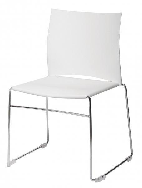 chaise coque plastique colori blanc et pi tement acier chrom. Black Bedroom Furniture Sets. Home Design Ideas
