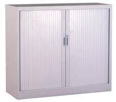 Armoire basse portes rideaux colori gris Larg. 100cm x Prof. 45cm x ...