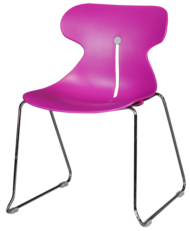 chaise coque plastique fushia pi tement m tallique chrom. Black Bedroom Furniture Sets. Home Design Ideas