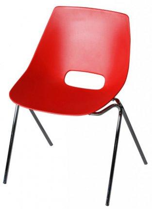 chaise coque plastique rouge pi tement m tallique chrom. Black Bedroom Furniture Sets. Home Design Ideas