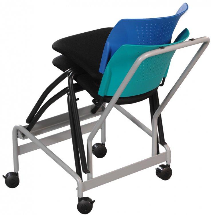 chaise roulante dossier coque plastique bleue assise tissu noir pi tement m tallique gris. Black Bedroom Furniture Sets. Home Design Ideas