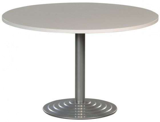 Table ronde diam tre 120 cm plateau colori blanc pi tement - Table ronde grise ...