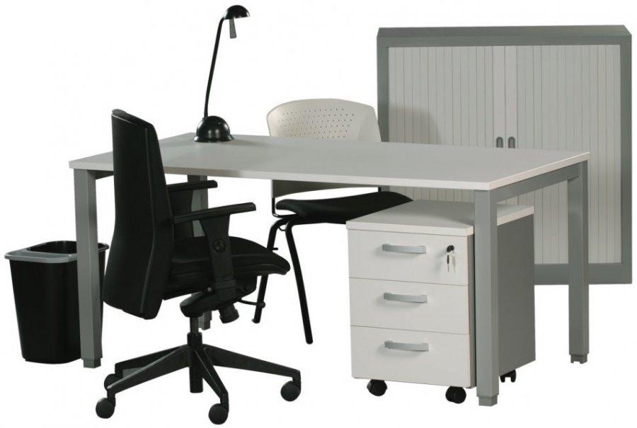 Bureau plateau 140x80 cm colori blanc piètement métallique colori