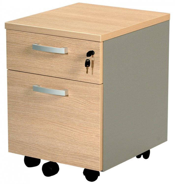 Caisson de bureau 2 tiroirs dont 1 tiroir dossiers suspendus sur roulettes - Caisson 2 tiroirs dossiers suspendus ...