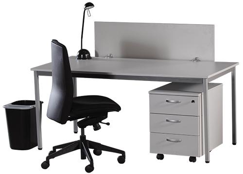 Table cm plateau colori blanc structure métal gris