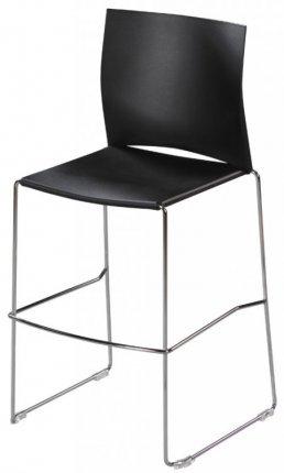 tabouret haut assise et dossier coque plastique noir pi tement acier chrom avec repose pieds. Black Bedroom Furniture Sets. Home Design Ideas