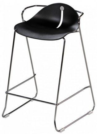 Tabouret haut assise coque plastique noir pi tement acier - Tabouret haut plastique ...