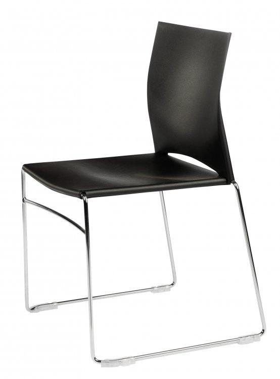 chaise coque plastique colori noir et pi tement acier. Black Bedroom Furniture Sets. Home Design Ideas
